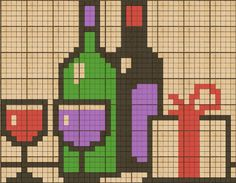 Celebration with wine, wine glasses and gift chart for cross stitch, knitting, knotting, beading, weaving, pixel art, and other crafting projects.