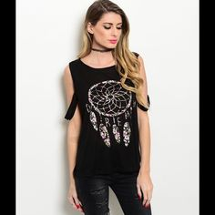 Black dream catcher tank FINAL PRICE!!! Cute indie layering tank with little straps that also hang down. Black shirt with white, gold and pink dream catcher pattern. Light airy fabric. Open sides, loose fitting, slightly see through. Fabric: 100% Rayon. Made in the USA. Boutique Tops Tank Tops
