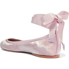 AERIN Satin-trimmed velvet ballet flats ($225) ❤ liked on Polyvore featuring shoes, flats, ballerina shoes, strap ballet flats, ballet shoes, strap shoes and ballet pumps