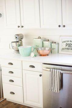 Mint and copper details from World Market in a farmhouse kitchen | Kitchen decor ideas | #WorldMarketMA #ad | Lauren McBride