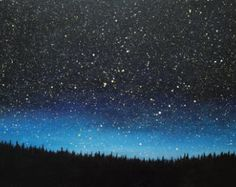 Night Sky Painting Snowy Landscape with a Tent by kathrynbeals
