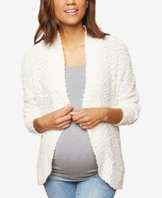 Motherhood Maternity Open-Front Cardigan - Tan/Beige XS
