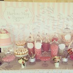 Butterfly christening dessert table/candy buffet by Marli Blewitt