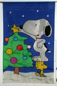 Snoopy Woodstock 28 x 40 Christmas Tree Decorative Garden Flag Polyester Peanuts Gang $18