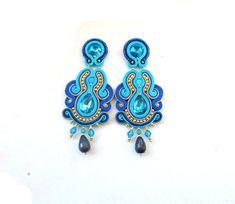 Long Clip-On Earrings  Blue Earrings Soutache Earrings