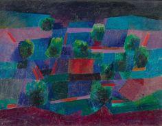 Johannes Itten (Linden BE 1888 - 1963 Zürich) Mondlicht-Landschaft, 1958 - Oel auf Leinwand, 50 x 65 cm.