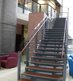 Metal Staircase | Wood Tread, Laser Cut Steel Risers Staircase with Glass Pannels and ...