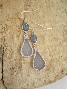 Druzy Earrings Drusy Quartz Sterling Silverl by julianneblumlo, $88.00