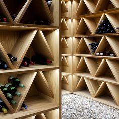 MIKAEL LUNDBLAD Botellero and triangulos con luz led interior. Under Stairs Wine Cellar, Wine Cellar Basement, Wine Cellar Racks, Wine Rack Design, Wine Cellar Design, Cave A Vin Design, Wine Rack Inspiration, Unique Wine Racks, Winery Tasting Room