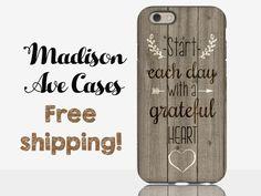 Telefon Fall starten jeder Tag mit A dankbar Herz Zitat Holz Thanksgiving Herbst Zitat Liebe Valentinstag Samsung Galaxy S5 S6 S7 iPhone 5-6-7