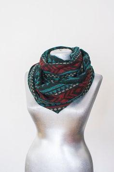 Scarf - Handmade Tribal Ethnic Infinity Scarf - Cotton - Teal Green Burgundy Black Cream - Winter Scarf
