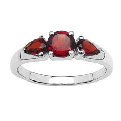Malaika 1.08 Carat Genuine Garnet .925 Sterling Silver Ring (Size 6), Adult Unisex, Red (solid)