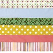 The Land of Nod | Crib Skirts: Pink Stripe Crib Skirt in Crib Skirts