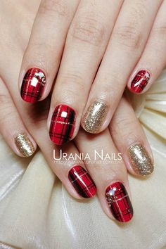 Who doesn't love properly manicured and well-groomed christmas nails. Ensuring you get as creative with your christmas nails as you are with your clothes is the industry of christmas nail art designs. Today, the. Plaid Nail Art, Plaid Nails, Fall Nail Art, Holiday Nail Art, Red Nails, Red And Gold Nails, Red Manicure, Golden Nails, Red Nail Art