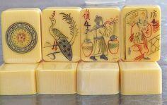 Vintage mah jong tiles