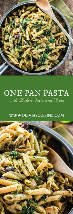 (AD) One Pan Pasta with Chicken, Pesto and Olives | www.oliviascuisine.com | No boil, no drain and easy clean up! Plus, dinner will be on the table in 15 minutes! #EverydayEffortless