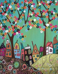 Colourful houses and cute tree painting.