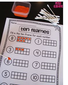 Painting in ten frames with cotton swabs! Lots of great numbers ideas on this post!
