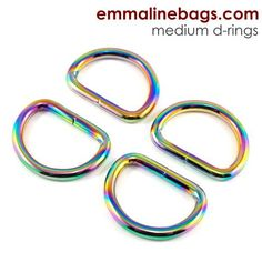 "D-Rings:  1"" (25 mm) in Iridescent Rainbow (4 Pack)"