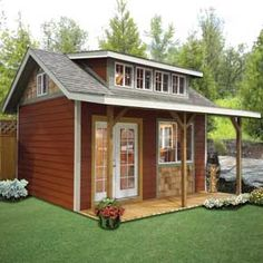 Your new Garden Cottage backyard shed can truly a be a home away from home. Create your game room, she shed, or man cave with Better Built Barns! Backyard Cottage, Backyard Studio, Backyard Sheds, Outdoor Sheds, Garden Cottage, Shed To Tiny House, Tiny House Cabin, Shed Design, Cabin Design