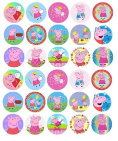 PEPPA PIG (PRE-CUT) PREMIUM EDIBLE WAFER BIRTHDAY PARTY CUPCAKE TOPPERS X 30