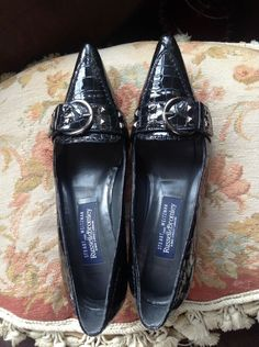 608fa27df7 Stuart Weitzman Russell Bromley Alligator Croc Pumps Size UK5 SW7 Buckled  Smart