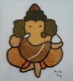 Indian Lentil Art Ganesh by KaviArts on Etsy - Seema Maheshwari - Hotel Simple Rangoli Designs Images, Rangoli Designs Flower, Colorful Rangoli Designs, Rangoli Ideas, Rangoli Designs Diwali, Flower Rangoli, Beautiful Rangoli Designs, Ganesha Drawing, Lord Ganesha Paintings