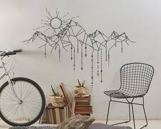 Discover the sun gleaming over a rocky mountain assorting into modern styled tribal arrows. This eco-friendly vinyl will bring a unique modern vibe to your living space.