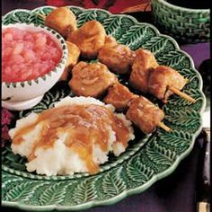 This old-fashioned mock chicken dish is actually made of tender perfectly seasoned pork. This city chicken recipe's gravy is so good over mashed potatoes, too. Kabob Recipes, Pork Recipes, Slow Cooker Recipes, Chicken Recipes, Cooking Recipes, Antipasto Kabobs, Pork Kabobs, Shish Kabobs, Chicken Kabobs