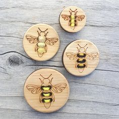 Four round buttons with the outline of a honey bee laser etched onto the  face. Fill in the six holes to outline the stripes on his abdomen. The  holes are left empty so that you can stitch them in with your own needle  and yarn or embroidery thread. These buttons are a great way to personalize  garments, add color to baby items or to embellish your accessories with a  special touch. Some ideas: Stitch with two strands of embroidery floss so  the yellow and black stripe or in cotton…