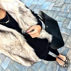 IG @mrscasual <click through to shop this look> Topshop faux fur vest.  BP sweater tunic.  Maternity leggings.  Leopard flats sam edelman.  Tory Burch black perry tote.