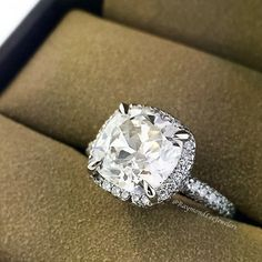 Cushion cut halo engagement ring // wouldn't be mad. Not even a little.