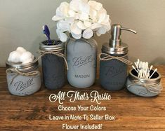 Home Decor Living Room Rustic Bathroom Decor Mason Jar Bathroom Set Mason Jar.Home Decor Living Room Rustic Bathroom Decor Mason Jar Bathroom Set Mason Jar Mason Jar Bathroom, Mason Jar Vases, Rustic Mason Jars, Bathroom Sets, Small Bathroom, Master Bathroom, Modern Bathroom, Bathroom Towels, Bathroom Shelves