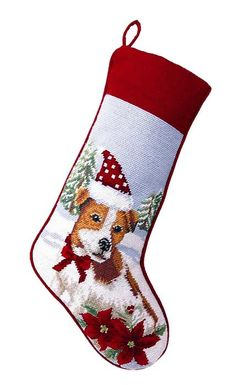 Jack Russell Terrier Dog Needlepoint Christmas Stocking – For the Love Of Dogs - Shopping for a Cause www.aloveofdogs.com