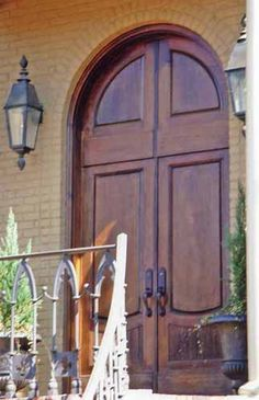 Solid Wood Double Entry Doors With Matching Arch Top Transom