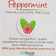 With spring around the corner, you may experience allergies and congestion... the Peppermint Inhalation Patch from Bioesse Technologies is the PERFECT way to ease congestion, headaches and even PMS symptoms.