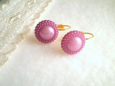 Lilac Purple Plastic Button Earrings With Golden by SaveTheNature, $7.65