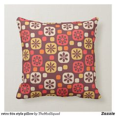 Shop retro style pillow created by TheModSquad. 60s Style, Animal Skulls, Toss Pillows, White Shop, Diy Face Mask, Custom Pillows, Pink And Green, My Design, Kids Shop