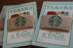 """""""Thanks a latte for all you do"""" Starbucks Card - Creative Teacher Appreciation Gifts (great for back to school) Craft Gifts, Diy Gifts, Cute Gifts, Best Gifts, Thanks A Latte, Little Presents, Volunteer Gifts, Volunteer Appreciation Gifts, Appreciation Cards"""