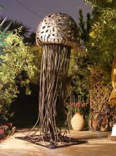 Garden metal sculpture Meduse created by greek visual artist Giannis Dendrinos. Metal Art Sculpture, Steel Sculpture, Modern Sculpture, Garden Sculpture, Recycled Garden, Recycled Art, Sculptures For Sale, Animal Sculptures, Metal For Sale