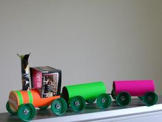 Breakfast Express - Toy Train From Toilet Roll Tubes : 7 Steps (with Pictures) - Instructables Toilet Paper Roll Crafts, Cardboard Crafts, Paper Crafts, Paper Toys, Craft Activities, Preschool Crafts, Diy For Kids, Crafts For Kids, Junk Modelling