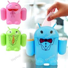 3-in-1 Plastic Tissue Box   Cotton Bud Holder   Toothpick Holder for Display Decoration - Android Robot Shape HLI-116204