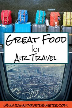 Great Food for Air Travel www.jauntyeverywhere.com #jauntyeverywhere #snacksforairtravel #snacks #preparingforairtravel Preparing snacks for airplane travel before getting to the airport is helpful for preparation sake, as well as equipping you with nutritious snacks that will keep your adventures pleasant while not grabbing overpriced snacks at the airport.