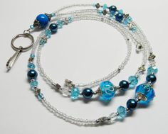 Beaded Lanyard Crystals Lampwork and Sapphire / by CreationsByNan, $17.99