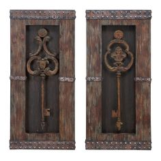 This fun faux-vintage two-piece wall art decor holds the key to a fabulous look on any wall in the home or office. This set features two large-scale skeleton-style keys in a design that looks like carved antique wood but is really metal.