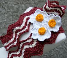 Bacon Scarf Pattern KIT with Yarn  Crochet by TheHappyCrocheter