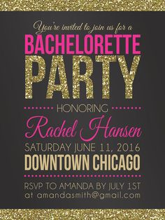 Get glam alongside your bridesmaids with pink and gold printable bachelorette party invitations, gilded in glitter for a luxe look.