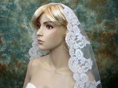 Mantilla bridal wedding veil ivory 50x50 fingertip by alexbridal, $69.99