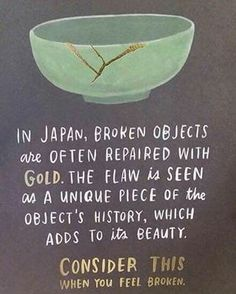 """""""Kintsugi"""", also known as #Kintsukuroi, is the Japanese art of repairing broken pottery with lacquer dusted or mixed with powdered gold, silver, or platinum. As a philosophy, it treats breakage and repair as part of the history of an object, rather than something to disguise."""" - Wikipedia entry about Kintsugi   Double tap this photo if you plan on repairing broken wares soon!   Photo not ours  #Regram via @diyprojectsdotcom"""