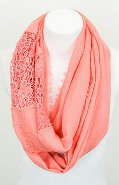 Coral Crocheted Lace Insert Infinity Scarf